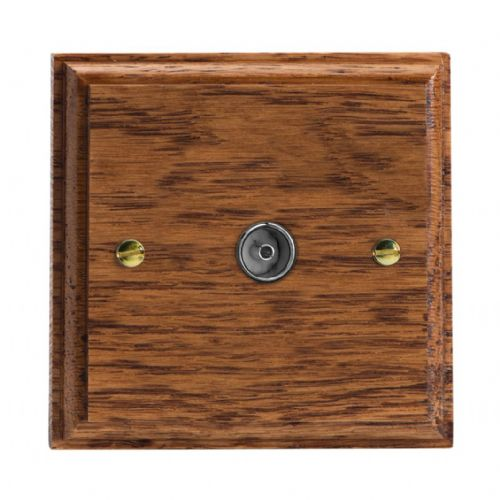 Varilight XK8MO Kilnwood Medium Oak 1 Gang Co-Axial TV Socket